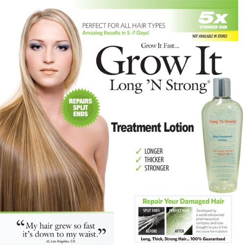 Want Longer Hair? Want Stronger Hair? Grow Hair Fast! Buy Long 'N Strong Treatment Lotion - Longer, Thicker Hair! - Split End Repair - Split end treatment 240 ML (Best Products To Grow Hair Longer Faster)