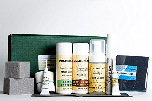 Colourlock Full Leather Repair Kit to repair cracks, rips, scuffs on leather - Mild Cleaner, Filler, Glue, Backlining Cloth, GLD Pen, Sanding Pad, Gloves, Sponges, Cloth, Protector & Leather Dye F003 by Colourlock