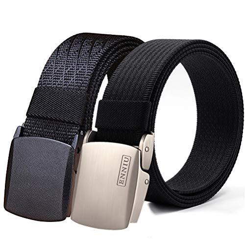 (Fairwin Men's Military Tactical Web Belt, Nylon Canvas Webbing YKK Plastic/Metal Buckle Belt (Black&Black, Custom to waist)