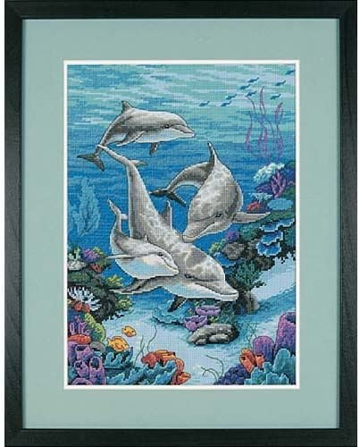B0006HIHAC Dimensions Needlecrafts Counted Cross Stitch, The Dolphins Domain 51CP3o63H2L