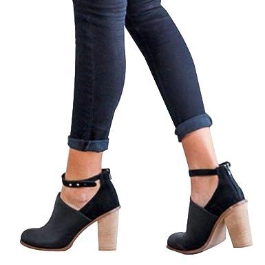 vendita calda online e695c 4eef6 Elecenty scarpa col tacco donna Scarpe Eleganti in PU con fibbia da donna  Scarpe a tacco largo Stivali