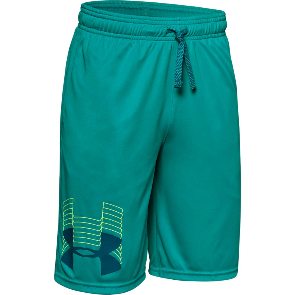 Under Armour boys Prototype Logo Shorts, Teal Rush (454)/Teal Vibe, Youth X-Small
