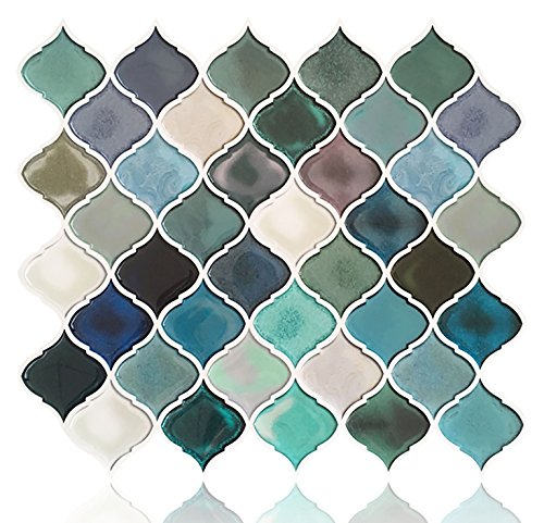 Peel and Stick Tile Backsplash for Kitchen Bathroom,Teal Arabesque Tile Backsplash,Mosaic Backsplash Sticker,5 Sheets by FAM STICKTILES