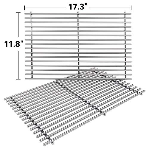 (SHINESTAR 7639 Stainless Steel Grates Replacement for Weber Spirit 300 Grill Grates, Solid Cooking Grates Replace for Spirit 310 Spirit E310, Genesis Silver B/C, Gold B/C (Set of 2, 17.3 x 11.8 x 0.7))
