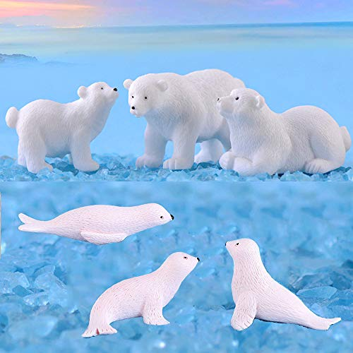 Yokoke Set of 12 Sea Ocean Animal Figurines White Christmas Miniatures Polar Bears Seals for Fairy Garden Snowball Ice Sea Theme Dollhouse Arctic Circle