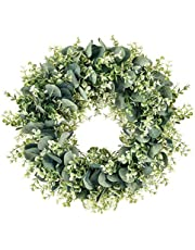MELAJIA Eucalyptus Wreaths 16 Inch Summer Wreath Artificial Green Leaves Wreaths for Front Door Wall Home Decor Indoor Outdoor.