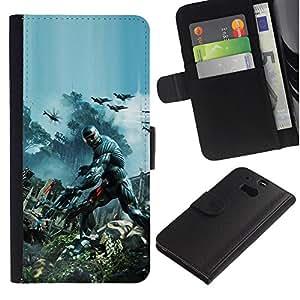 LECELL--Cuero de la tarjeta la carpeta del tirón Smartphone Slots Protección Holder For HTC One M8 -- Crisis Futuro Guerra Soldado --