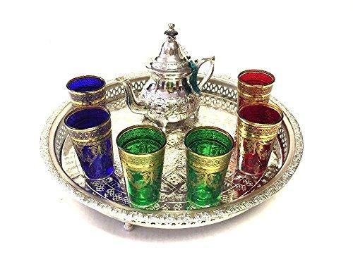 Moroccan Tea Glasses & Teapot Engraved Silver Tray Artisan Set 6 Pieces