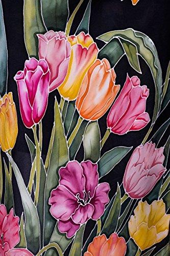 Seta con sera tulipani a Colori I della Abito Seta dipinta mano da nero 0q8zwBX8