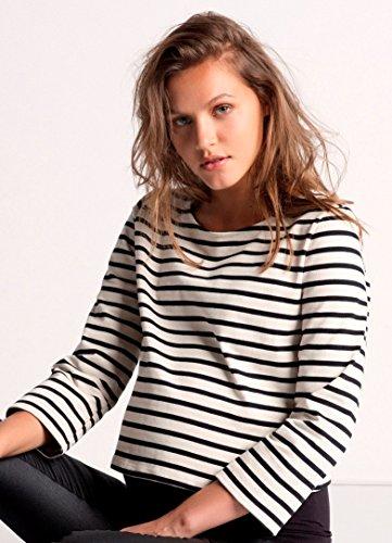Love2Wait camisa y jersey maternidad-Sudadera de ocio, diseño de rayas 025 - Grey Melange