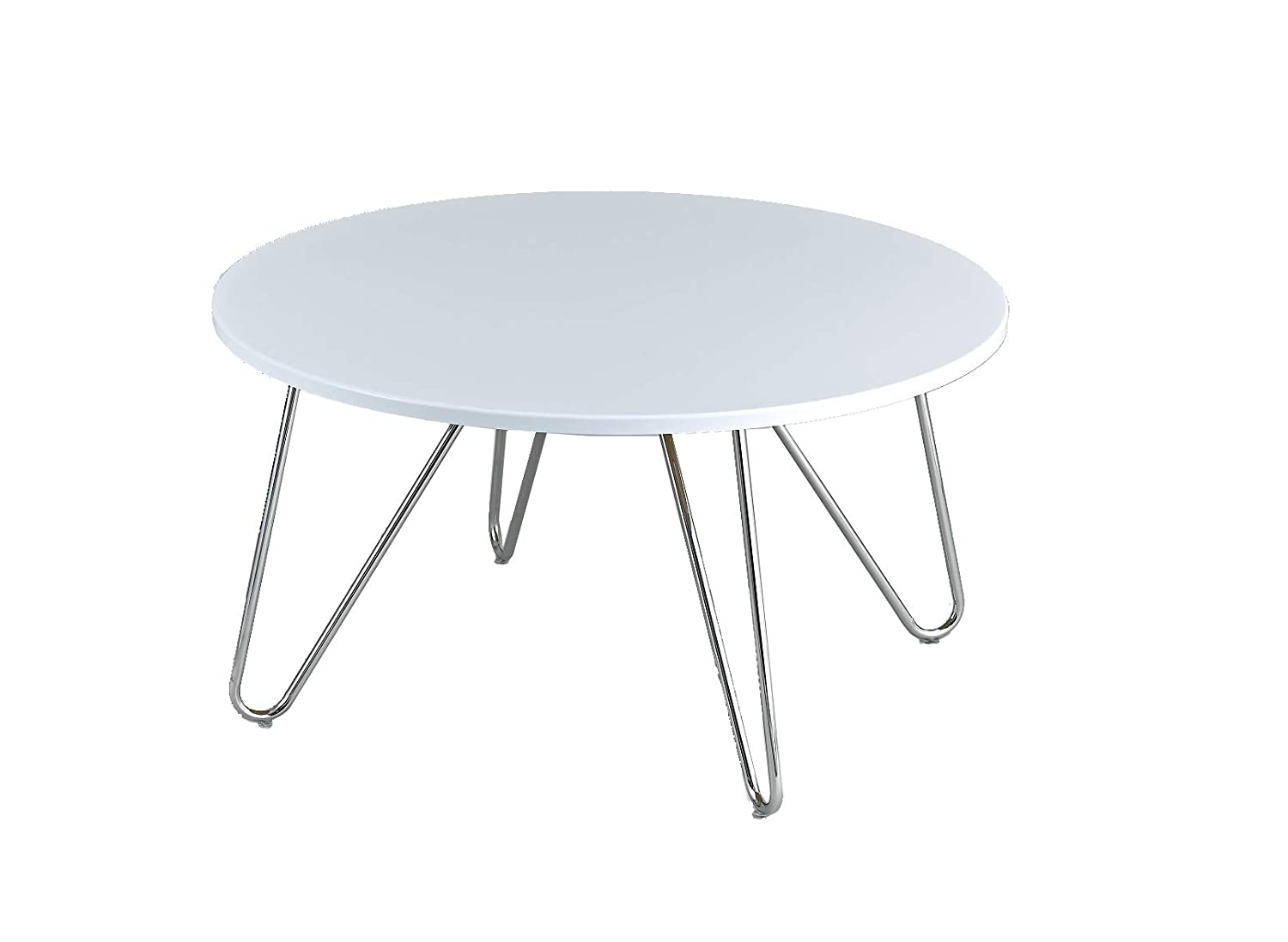 Aspect Happer Round Wooden Coffee Table With Hairpin Legs White