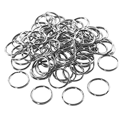 """1"""" (25mm) Nickel Plated Silver Steel Round Edged Split Circular Keychain Ring Clips for Car Home Keys Organization, Arts & Crafts, Lanyards (100 Pack) by Super Z Outlet from Super Z Outlet®"""