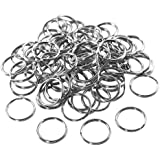 "1"" (25mm) Nickel Plated Silver Steel Round Edged Split Circular Keychain Ring Clips for Car Home Keys Organization, Arts & Crafts, Lanyards (100 Pack) by Super Z Outlet®"