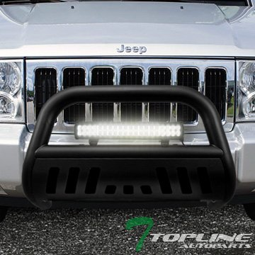 Topline Autopart Matte Black HD Bull Bar Brush Push Front Bumper Grill Grille Guard w/ Skid Plate + 120W Cree LED Fog Light Lamp 05-07 Jeep Grand Cherokee / 06-10 Commander