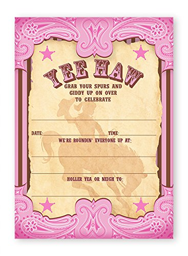 Cowgirl Party LARGE Invitations - 20 Invitations + 20 (Rodeo Birthday Invitations)