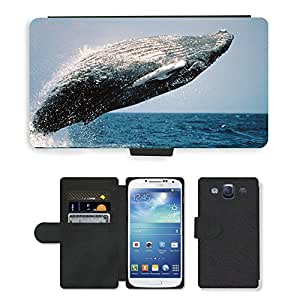 Hot Style Cell Phone Card Slot PU Leather Wallet Case // M00113493 Humpback Whale Jumping Breaching // Samsung Galaxy S3 S III SIII i9300
