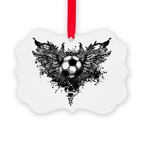 Picture Ornament Soccer Ball Futbol Angel Wings