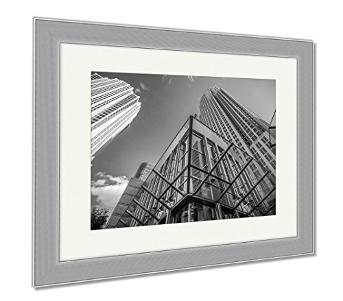 Ashley Framed Prints Tall Highrise Buildings Uptown Charlotte Near Blumenthal, Wall Art Home Decoration, Black/White, 34x40 (frame size), Silver Frame, - Center Town Charlotte
