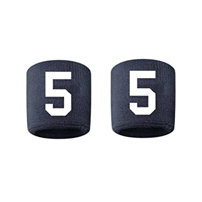 #5 Embroidered/Stitched Sweatband Wristband NAVY BLUE Sweat Band w/ WHITE Number (2 Pack)