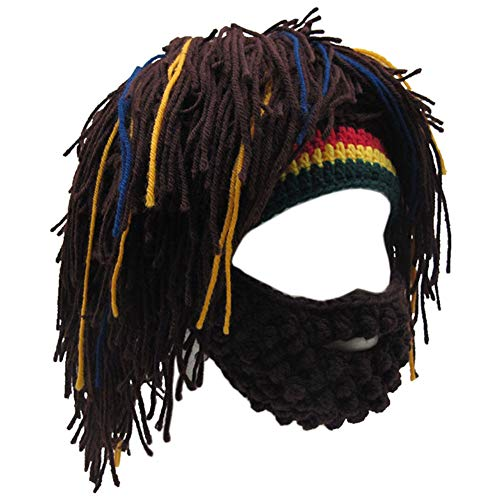 Creative Original Barbarian Knit Beard Hat Wig Beanie Hat Funny Knit Hat Beard Facemask (Coffee)
