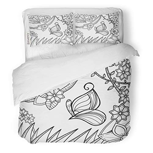 Emvency Decor Duvet Cover Set Full/Queen Size Digitally Butterfly in Magical Garden for Adult Colouring Page 3 Piece Brushed Microfiber Fabric Print Bedding Set -