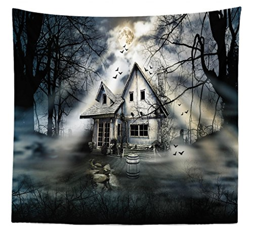 Lunarable Halloween Tapestry Queen Size, Haunted House Dark Horror Atmosphere Cloudy Mysterious Frightening, Wall Hanging Bedspread Bed Cover Wall Decor, 88 W X 88 L Inches, Grey White Black]()