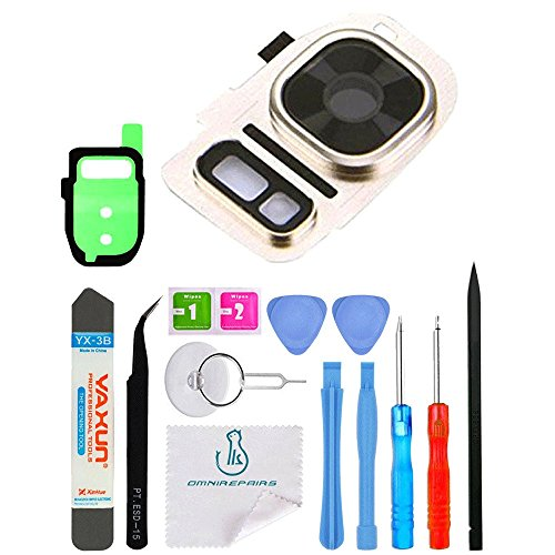 OmniRepairs-Rear Facing Glass Camera Lens Frame Assembly Replacement with Flash Diffuser For Samsung Galaxy S7 SM-G930 and S7 Edge SM-G935 with Adhesive and Repair Toolkit ()