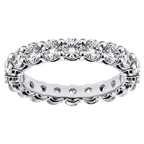 VIP Jewelry Art 2.60 CT TW Round Diamond Eternity Anniversary Wedding Ring 14k White Gold Setting - Size 7