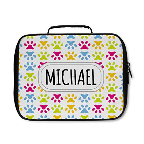 Multi Colored Paw Prints - Nylon Insulated Lunch Box Custom Paw Print Pattern White Multi-colored adults