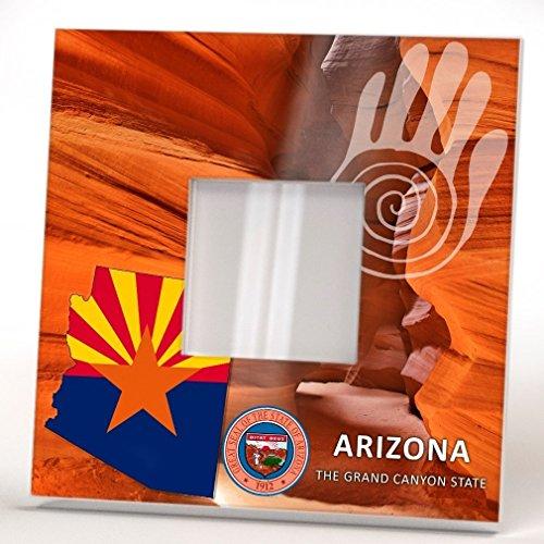 Arizona State Wall Framed Mirror with Printed Decor Grand Canyon Fan Art Print Home Gift Seal - Square Arizona Fashion