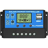 ALLPOWERS 12V-24V Controlador Carga Inteligente Panel Solar 20A Parte USB, Pantalla LED