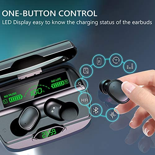 Bluetooth Earphone with Microphone Bluetooth 5.1 Wireless Earbud 1200mAh Charging Case Waterproof Stereo in-Ear Headphones LED Display Wireless Ear Buds Premium Sound with Deep Bass for Sport Black