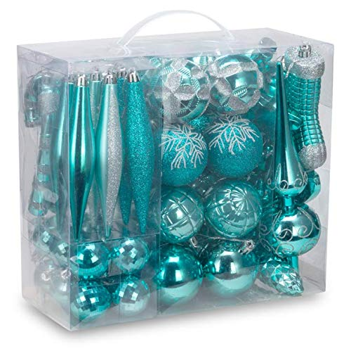 AUXO-FUN 54 Pieces Assorted Christmas Ornaments Tree Decoration Baubles in Gift Box (Turquoise Blue, Gift Box) (Baubles Turquoise Christmas)