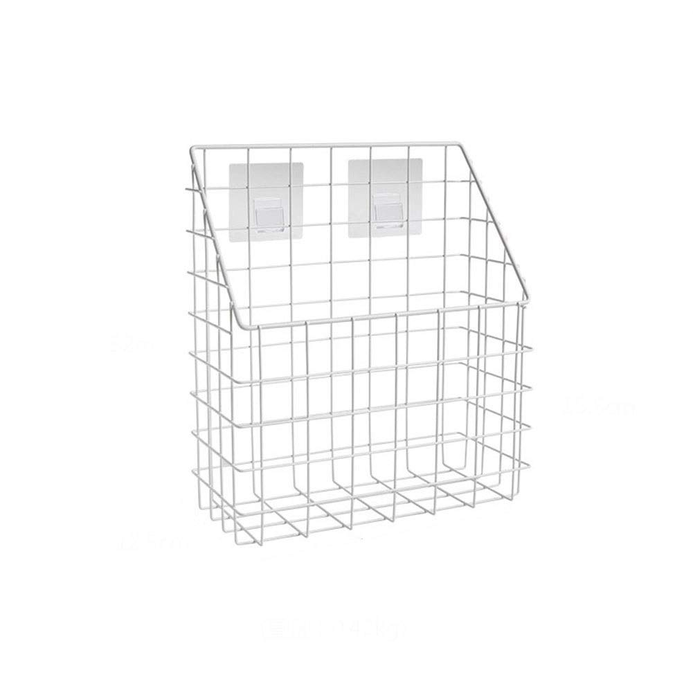 Wrought Iron Free Punching Debris Storage Basket Wall-mounted Living Room Kitchen Finishing Rack Large Capacity Adhesive Hooks Not Easy To Rust 3212.528cm (Color : 3212.528cm)