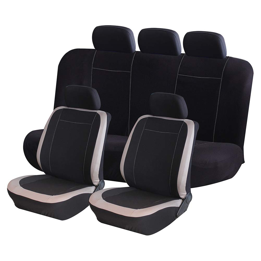 AUTO HIGH Car Seat Covers Full Set - Breathable Mesh Cloth Automotive Front and Back Seat Protect Covers - Fits Most Car Truck Van SUV, Beige & Black