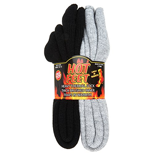 Hot Feet Cozy, Heated Thermal Socks for Men, Warm, Patterned Crew Socks, USA Men's Sock Sizes 6 - 12.5 - Hot Feet (Light Grey Heather/Solid Black) (2 - Pack)