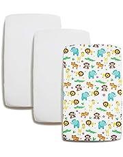 Niimo-set 2-delige lakens van 100% zacht katoen + 1 waterdichte matrasbeschermer voor babybedje en wieg