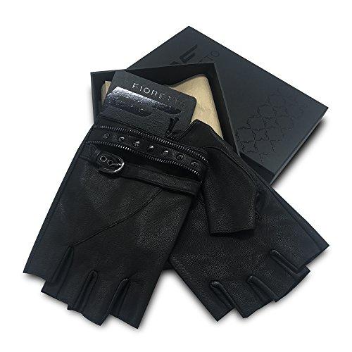 Fingerless Black Leather Gloves for Men-Fioretto Half Finger Gloves with Gift Box for Driving, Motorcycling, Biking(9.5)