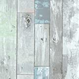 Brewster 2532-20416 Dean Distressed Wood Panel Wallpaper, Blue