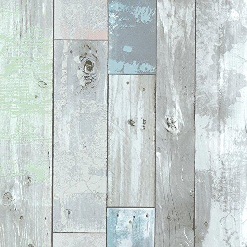 Brewster 2532-20416 Dean Distressed Wood Panel Wallpaper Blue