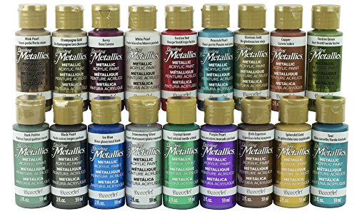 AMERICANA DAZZLING METALLICS FAN FAVORITES SAMPLER SET Decoart Americana Acrylic Paints