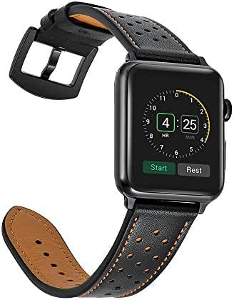 Mifa - Apple Watch band black Leather Replacement Bands straps for series 1 and 2 BD (42mm, Black)