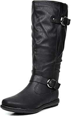 DREAM PAIRS Women's Summit Black Faux Fur-Lined Knee High Winter Boots Wide Calf Size 9 M US