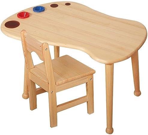 Mesa para niños Tabla niño y sillas for niños pequeños, niños de madera sólida actividad de