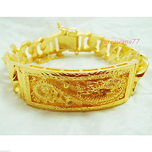 Dragon 22k 23k 24k Thai Baht Yellow Gold GP Men's Bracelet 8.5 Inch 20mm 72 Grams ()