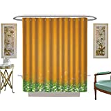 Antique Fishing Lure Shower Curtain luvoluxhome Shower Curtain Collection by Antique Old Planks American Style Western Rustic Wooden,Small Grass and Daisies Patterned Shower Curtain W69 x L75