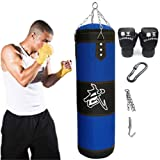 Aquarius CiCi 47 Boxing Heavy Punching Training Bag Sandbags with Chains + Handbag Hook + Boxing Gloves + Hands Bandages Kickboxing Muay Thai Training Fitness Workout Set(Empty Bag) (Color: 47 Inch)