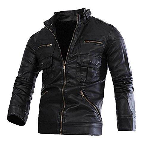 LeNG Men's Hip Hop Multi Zippers PU Leather PU Biker Jackets