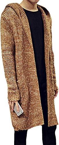 [JINPIN]メンズ コート ニット ロング カーディガン ニットセーター パーカ ミックス 前開き フード付き 長袖 無地アウター 春秋冬 羽織り 厚手 大きいサイズ きれいめ カジュアル 防寒 韓国ファッション