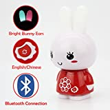 alilo Honey Bunny 8GB Bluetooth MP3 Player for Kids Learning Toy with English & Chinese Story Songs for Baby with Sound Recorder Night Light (Red)
